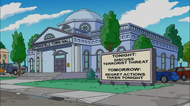 Simpsons - Town Hall Funny Sign